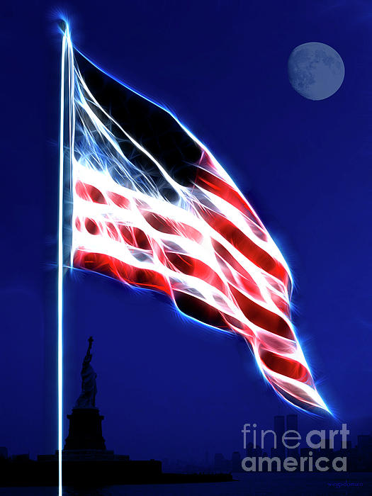 God Bless America Print by Wingsdomain Art and Photography