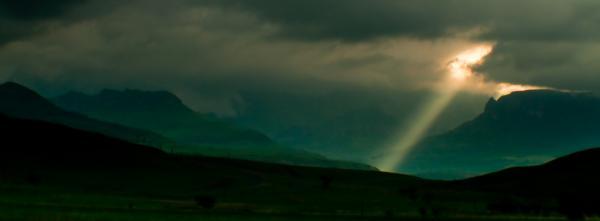 God Light In The Upper Drakensberg Print by Joe Houghton