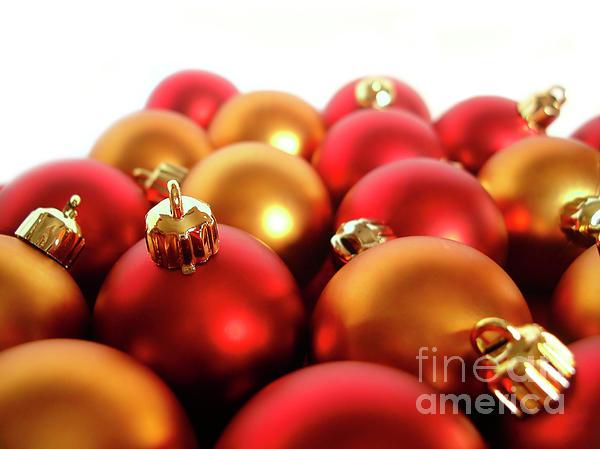 Gold And Red Xmas Balls Print by Carlos Caetano