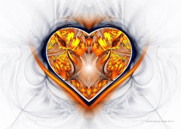 Gold And Sapphire Heart  Print by Sandra Bauser Digital Art