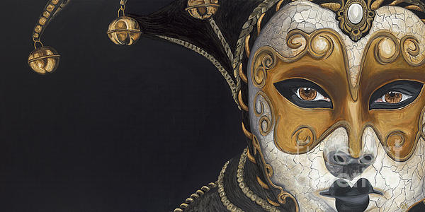 Gold Carnival Mask Print by Patty Vicknair