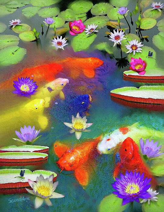 Susanna  Katherine - Gold Fish And Water Lily Pads