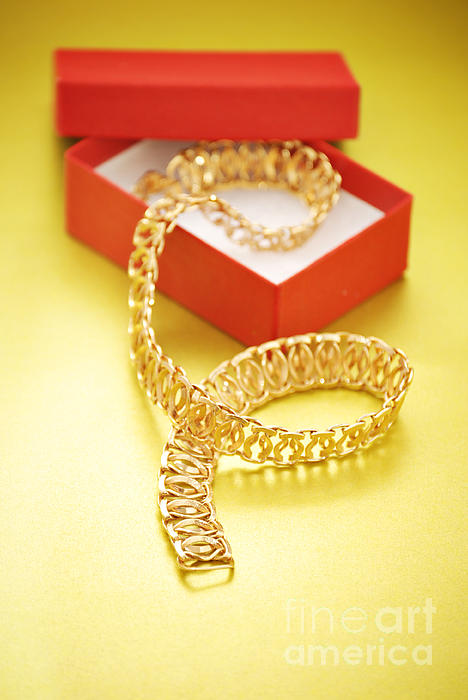 Gold Necklace Print by HD Connelly