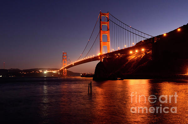 Golden Gate Bridge At Night 2 Print by Bob Christopher