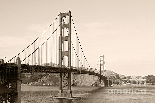 Golden Gate Bridge San Francisco - A Thirty-five Million Dollar Steel Harp Print by Christine Till