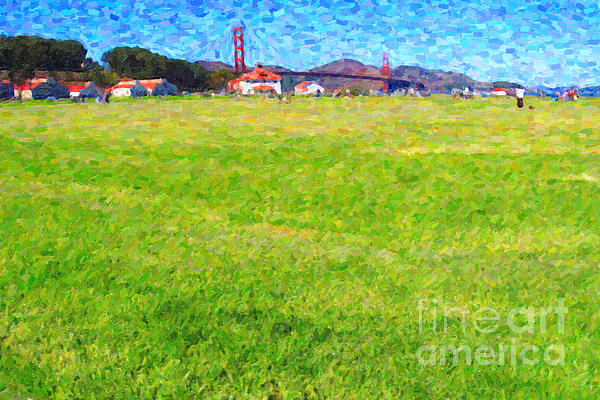 Golden Gate Bridge Viewed From Crissy Fields Print by Wingsdomain Art and Photography