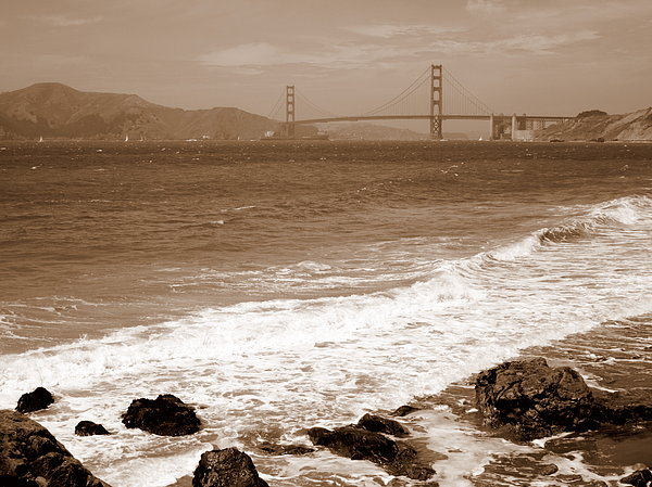 Golden Gate Bridge With Shore - Sepia Print by Carol Groenen