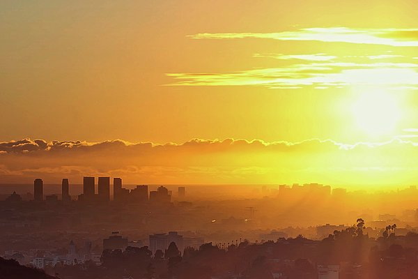 Golden Horizon At Sunset, Los Angeles Print by Eric Lo
