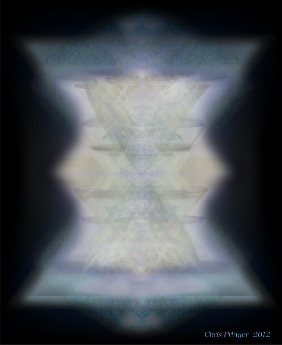 Golden Light Chalices Emerging From Blue Vortex Myst Print by Christopher Pringer