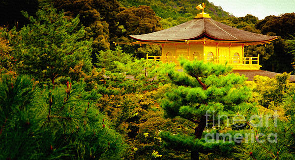 Golden Pavilion Temple In Kyoto Glowing In The Garden Print by Andy Smy