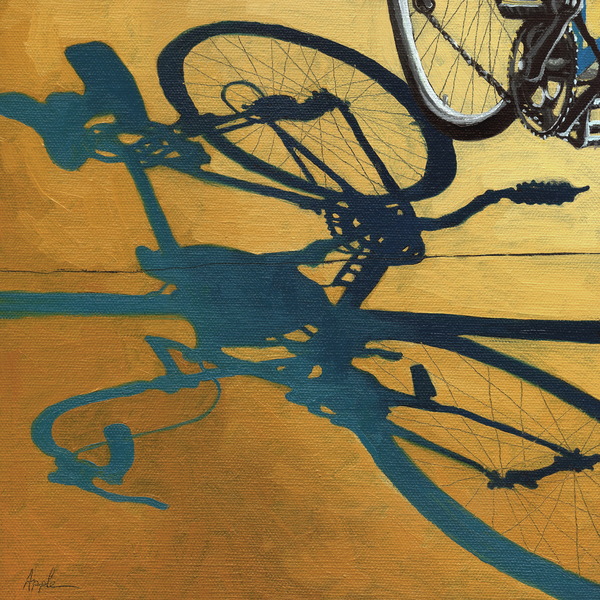 Golden Shadows - Wheels Print by Linda Apple