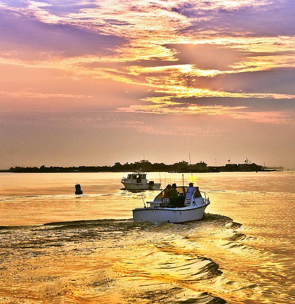 Golden Sunrise Fishing Print by Vicki Jauron