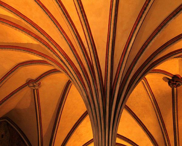Golden Vaulted Ceiling In Malbork Castle II Print by Greg Matchick