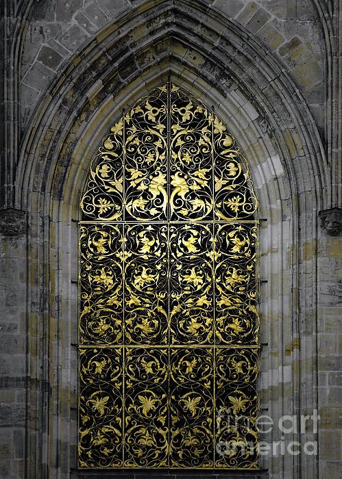Golden Window - St Vitus Cathedral Prague Print by Christine Till