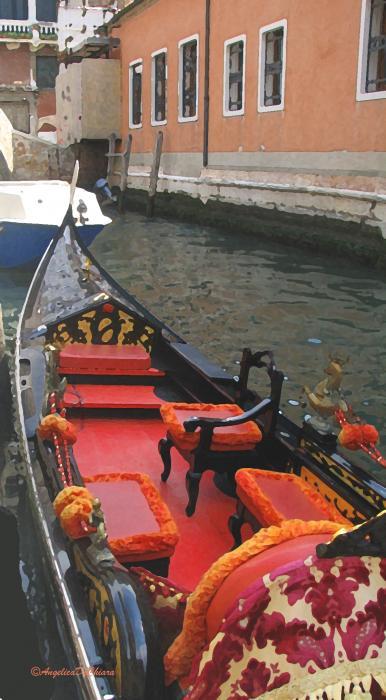 Gondola Rossa Venice Italy Print by Italian Art