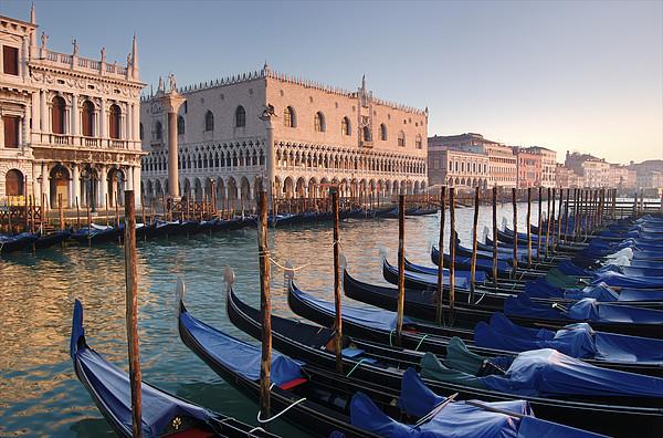 Gondolas Docked Outside Of Piazza San Print by Jim Richardson