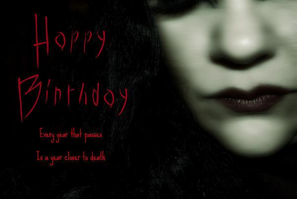 Goth Birthday Card Print by Lisa Knechtel