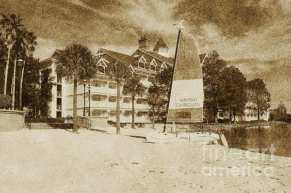 Grand Floridian Resort Beach Walt Disney World Prints Vintage Print by Shawn O'Brien