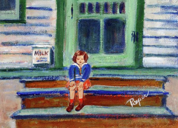 Grandma's Door Steps Print by Elzbieta Zemaitis