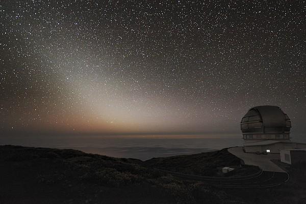 Grantecan Telescope And Zodiacal Light Print by Alex Cherney, Terrastro.com