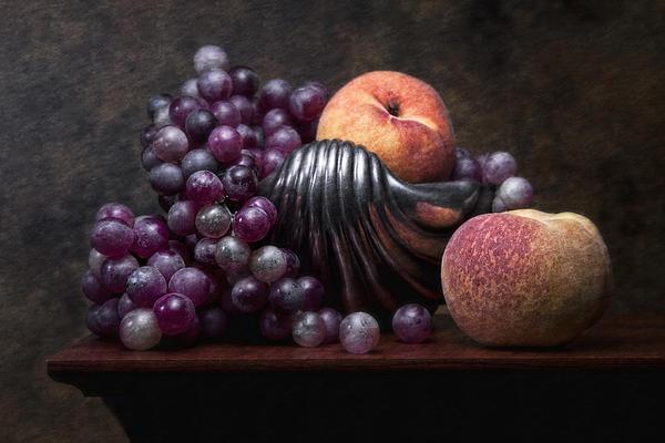 Grapes With Peaches Print by Tom Mc Nemar