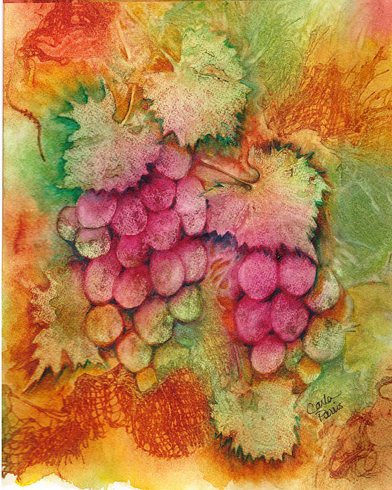 Carla Parris - Grapes with Rust Background