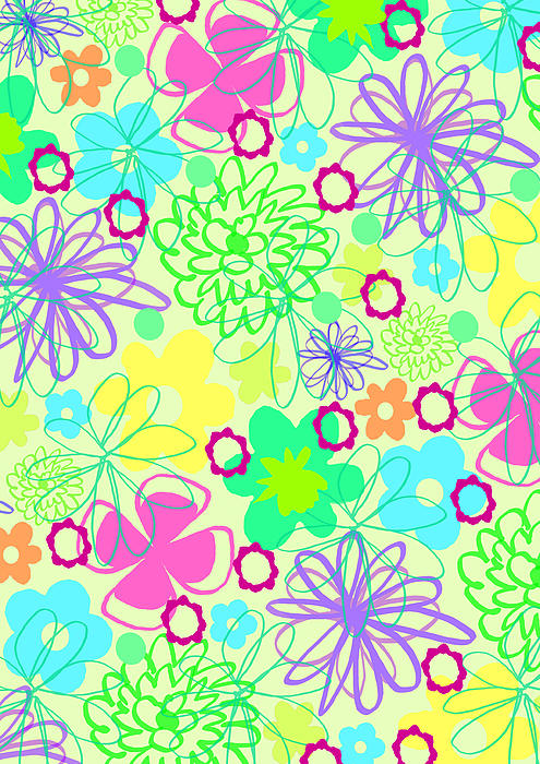 Graphic Flowers Print by Louisa Knight