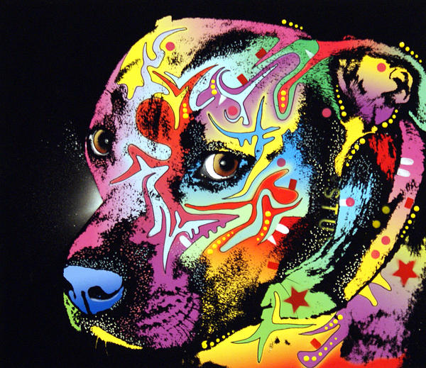 Gratitude Pit Bull Warrior Print by Dean Russo