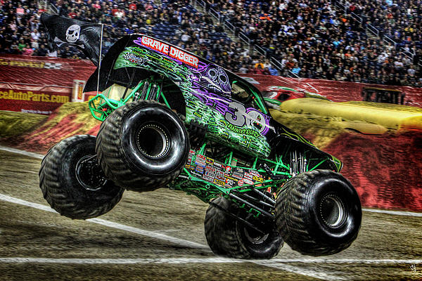 Grave Digger At Ford Field Detroit Mi Print by Nicholas  Grunas