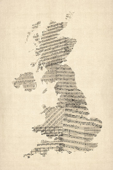 Great Britain Uk Old Sheet Music Map Print by Michael Tompsett