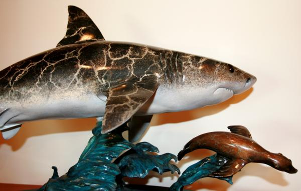 Great White Chasing A Seal Sculpture