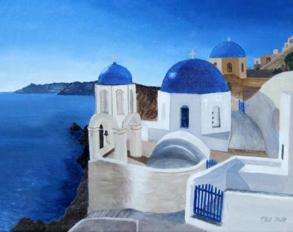 Greek Church At Santorini Print by Philip Hall