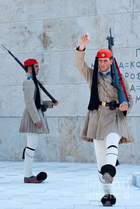 Greek Guards Print by Andrew  Michael