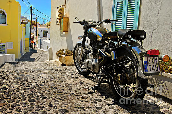 Greek Island Royal Enfield Print by Meirion Matthias