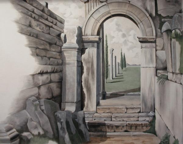 Greek Portal Print by Joyce Hutchinson