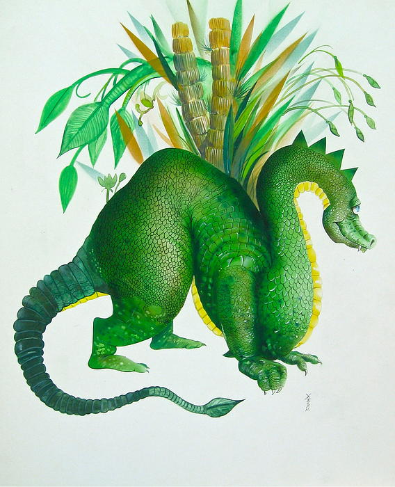 Green Dragon Print by Richard Yoakam