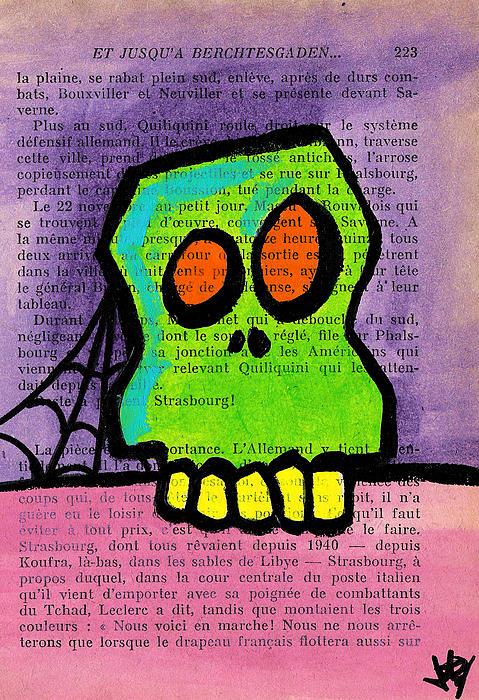 Green Skull Print by Jera Sky