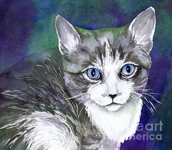 Grey And White Kitten Print by Cherilynn Wood