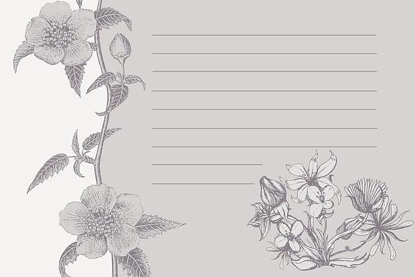 Grey Floral Card Print by Dana Vogel