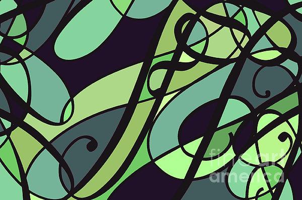 Groovy Green Abstract Swirl Design Print by Jayne Logan Intveld