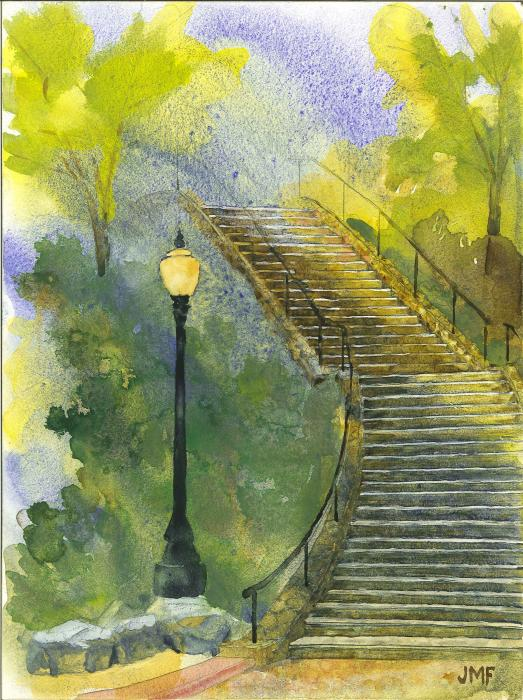Grotto Stairs Painting  - Grotto Stairs Fine Art Print