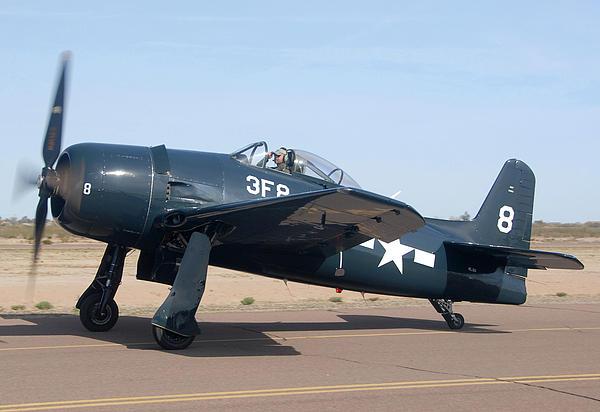 Grumman F8f-1 Bearcat Nl9g Casa Grande Airport Arizona March 5 2011 Print by Brian Lockett