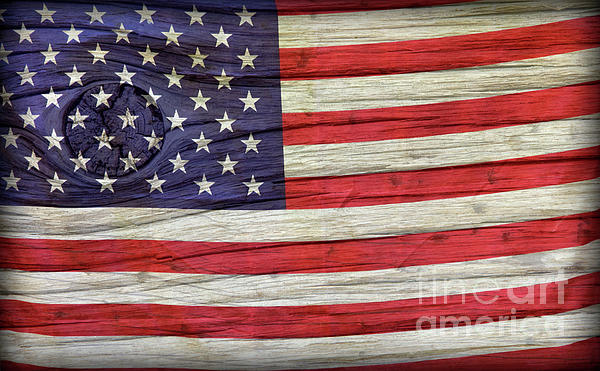 Grungy Textured Usa Flag Print by John Stephens