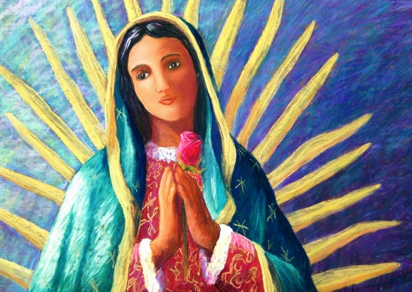 Guadalupe With Rose Print by Candy Mayer