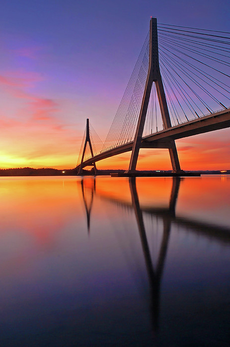 Guadiana Bridge Over Sunset Print by Juampiter