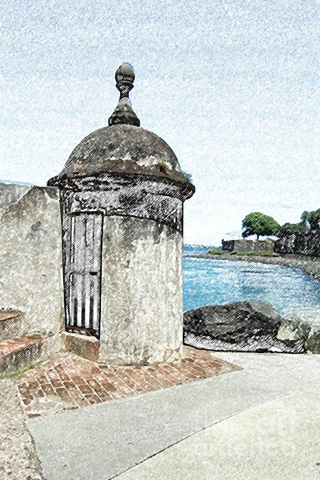 Guard Post Castillo San Felipe Del Morro San Juan Puerto Rico Colored Pencil Print by Shawn O'Brien