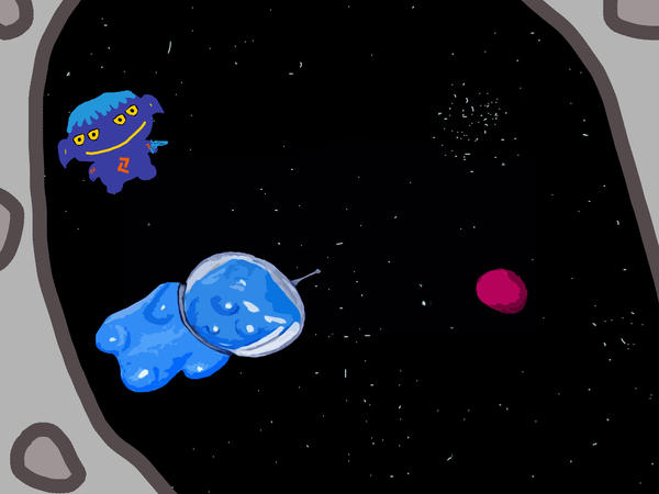 Gummy Bear In Space With Alien Print by Jera Sky