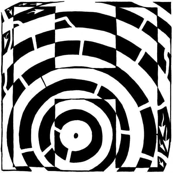 H Maze Drawing - H Maze Fine Art Print - Yonatan Frimer Maze Artist