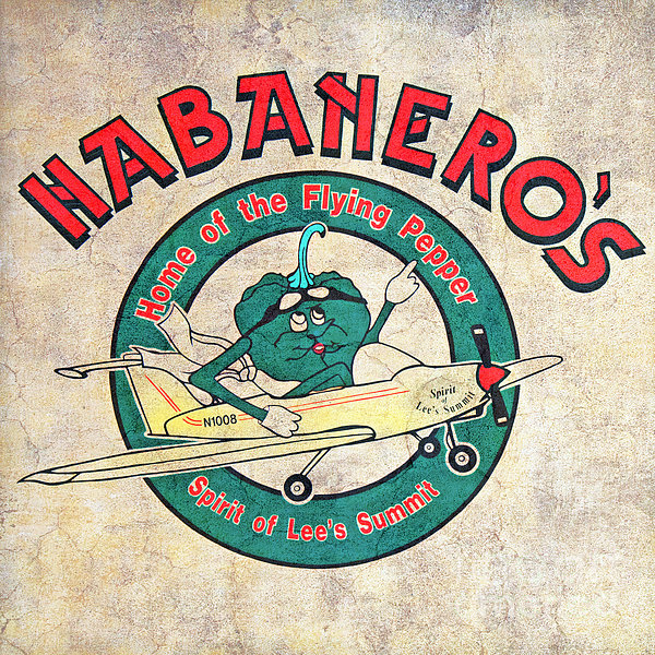 Habaneros Home Of The Flying Pepper Sign 3 Print by Andee Design