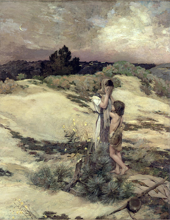 Hagar And Ishmael Print by Jean-Charles Cazin